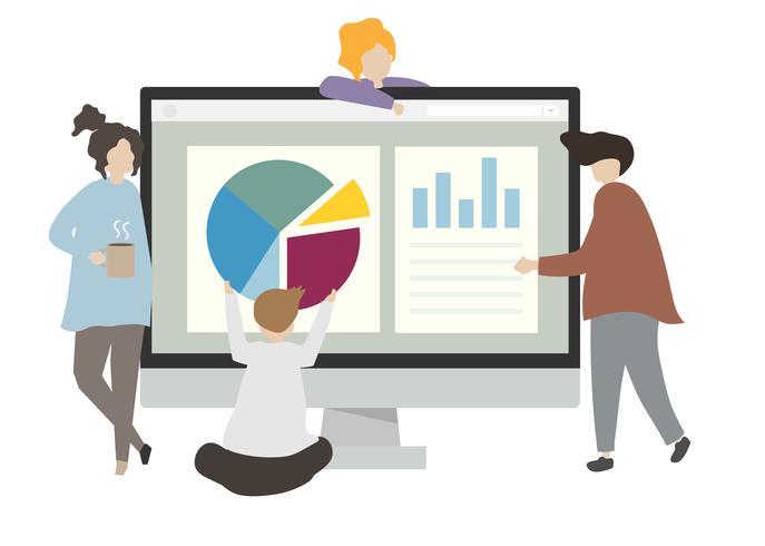 Illustration av tecken med företagsdiagram