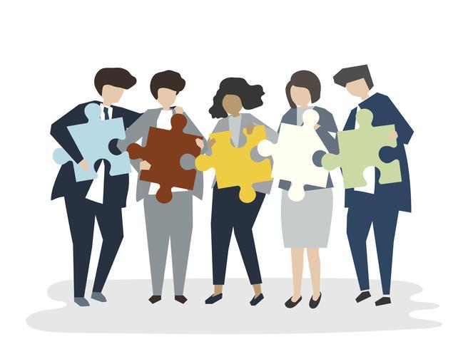 Ilustración de personas avatar concepto de trabajo en equipo