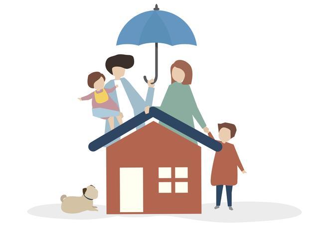 Abbildung einer glücklichen Familie