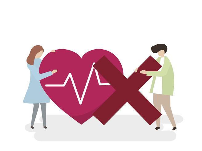 Illustratie van mensen met een ongezond hart