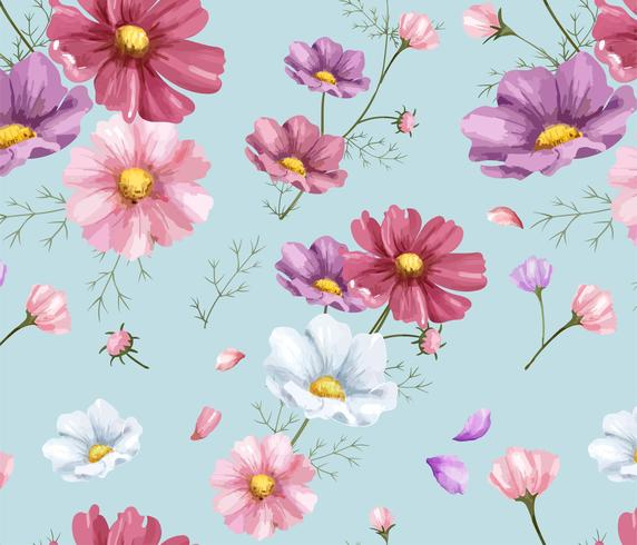 Hand getrokken kosmos bloemenpatroon