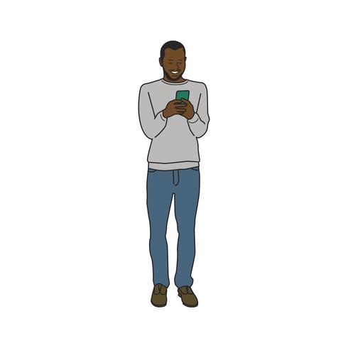Illustrated black man using mobile phone