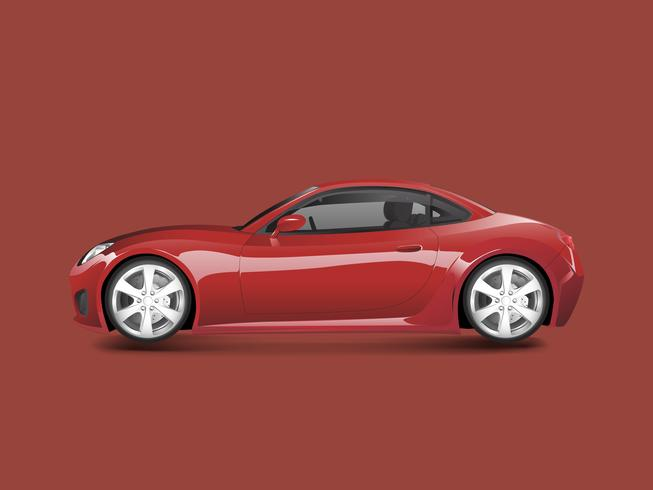 Red sports car in a red background vector