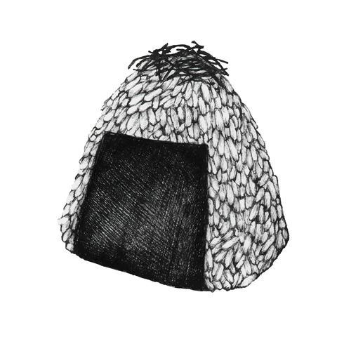 Sfera di riso onigiri disegnata a mano