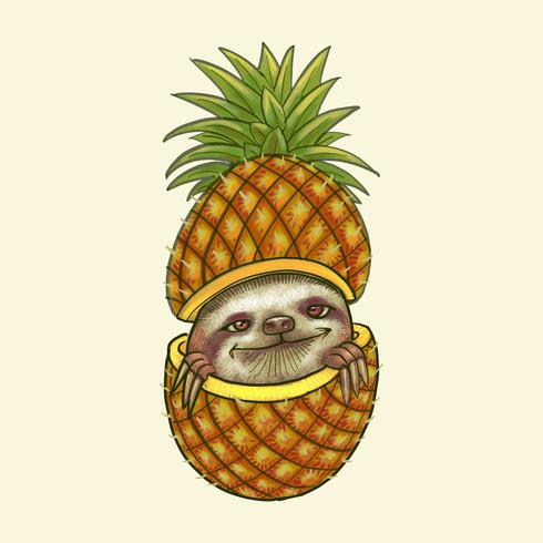 Hand drawn pineapple isolated on yellow background