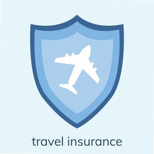Illustrazione di un'icona di assicurazione di viaggio