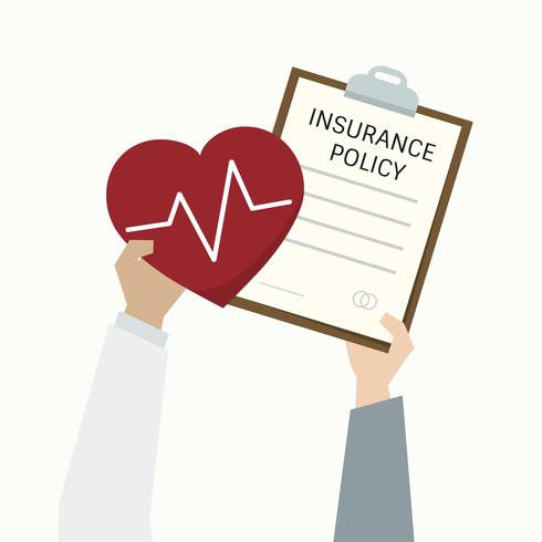 Illustration av sjukförsäkring formulär