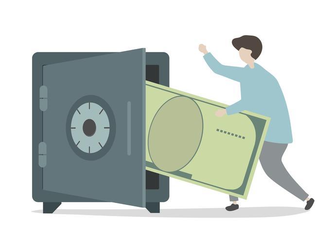 Illustratie van karakterbesparingsgeld
