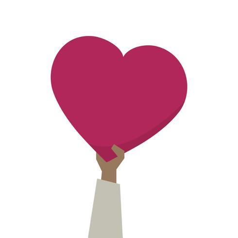 Illustration d'une main tenant coeur