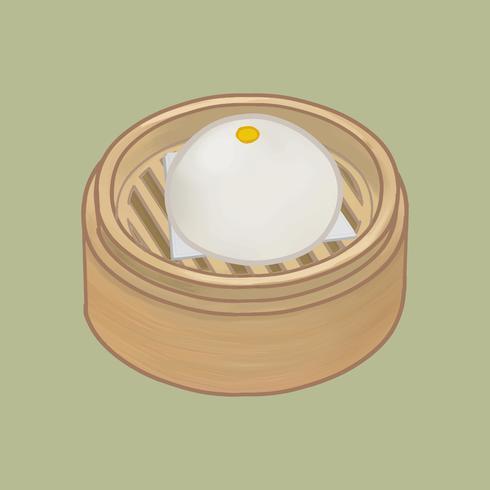 Petit pain cuit à la vapeur chinois dans une illustration de panier