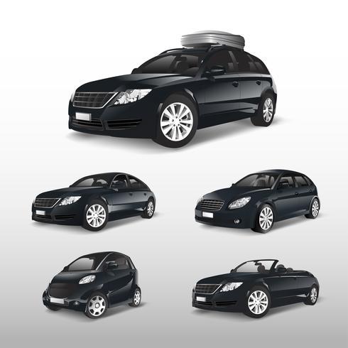 Ensemble de divers modèles de vecteurs de voiture noire