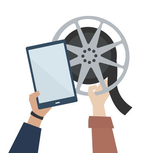 Mãos, mostrando, online, filme, ilustração