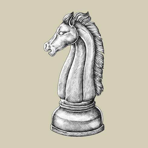 Hand-drawn chess knight illustration