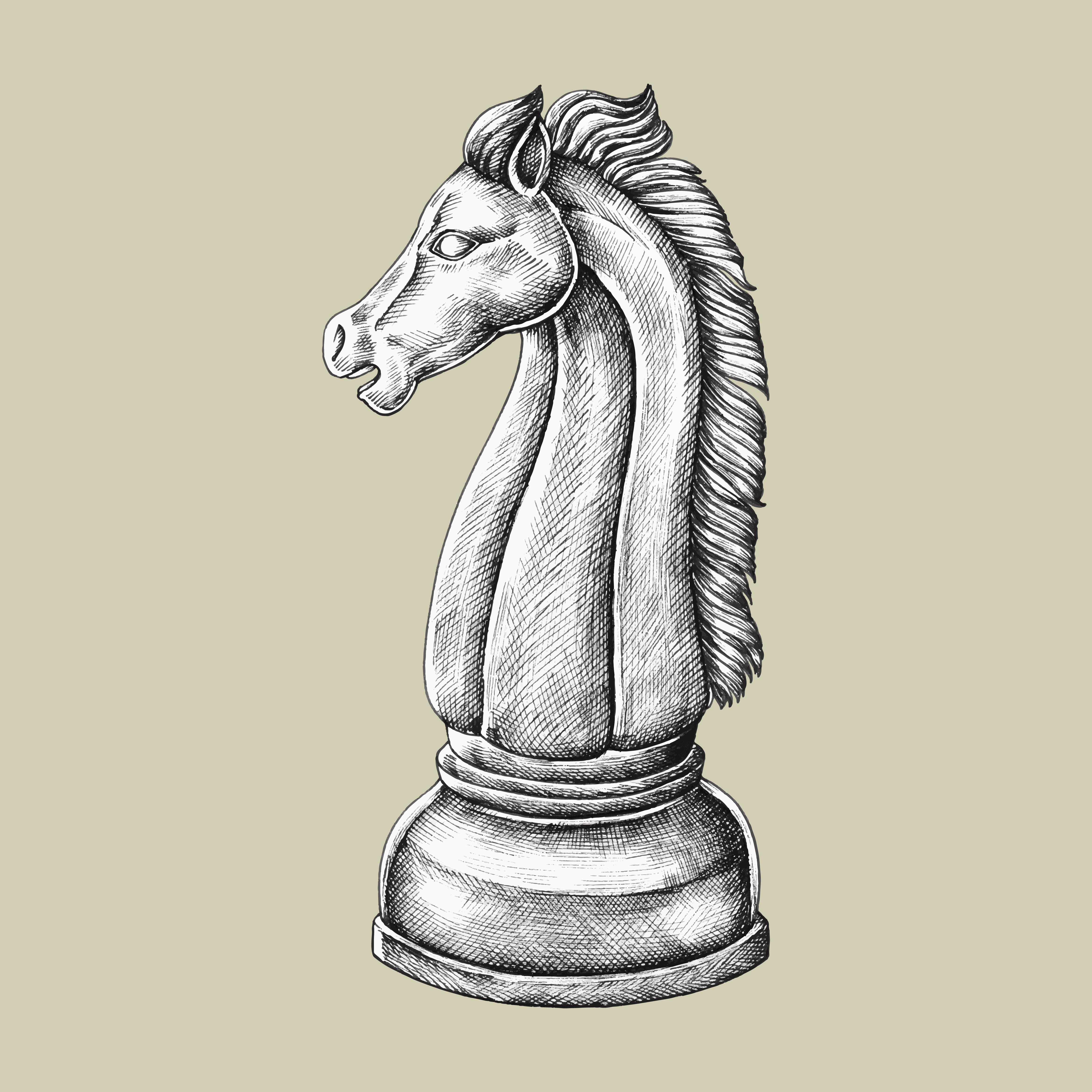 Hand-drawn chess knight illustration - Download Free ...