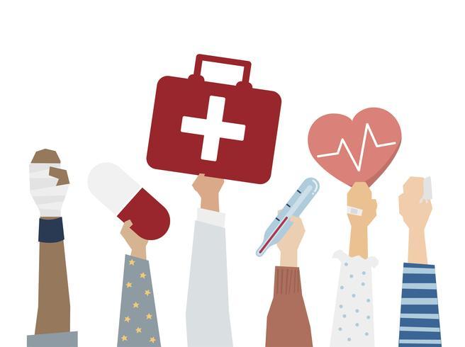 Illustration av första hjälpen sjukvård begrepp