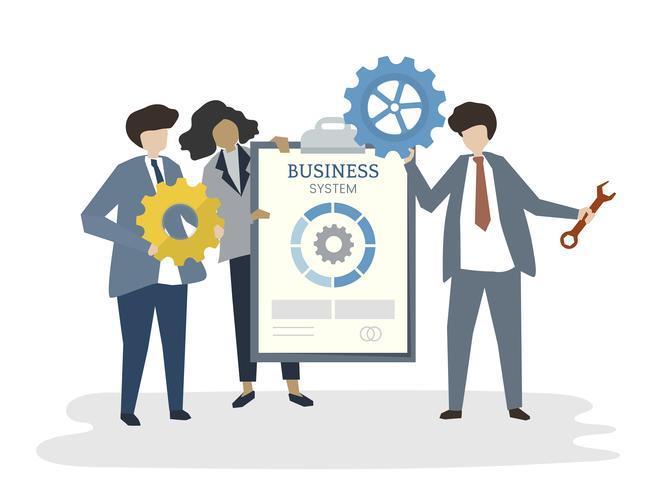 Illustrazione del concetto di lavoro di squadra di affari dell'avatar della gente