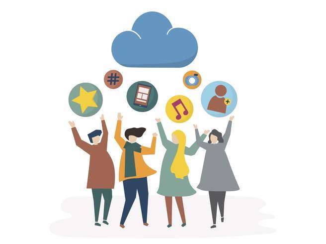 Illustration du réseau social et concept de partage