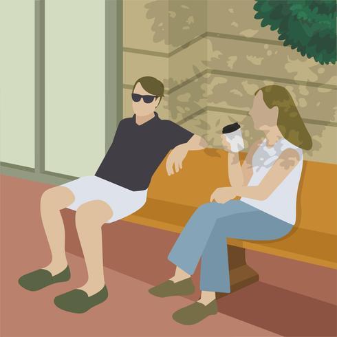 Amici che hanno un'illustrazione del caffè