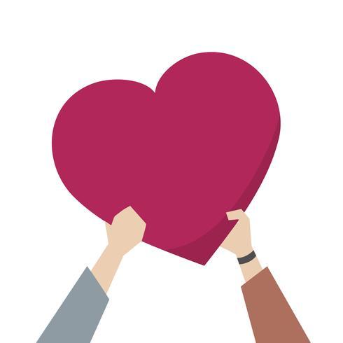 Illustration d'un couple tenant un coeur