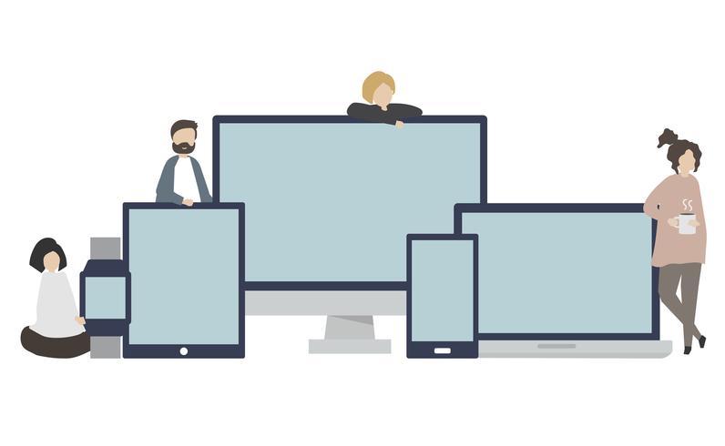 Grupo de amigos con ilustración de dispositivo digital