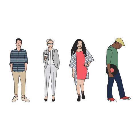 Illustrerade olika avslappnade människor
