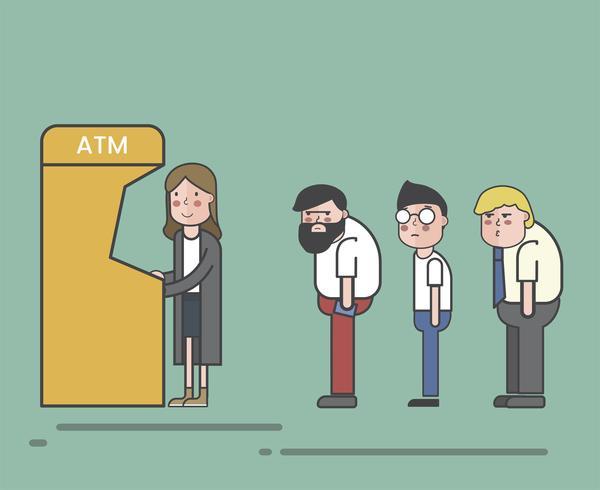 Illustration d'une file d'attente ATM