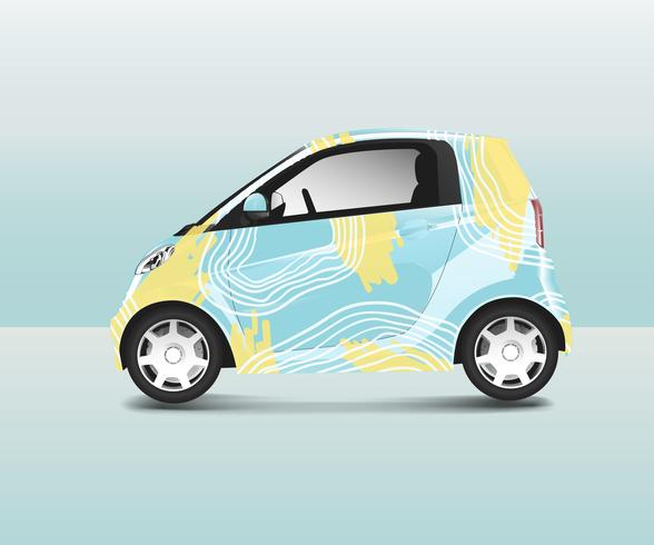 Compact hybrid car with special design vector