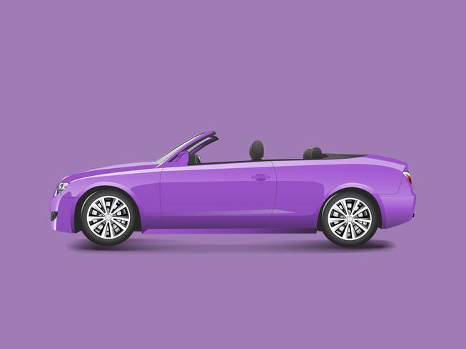 Purple convertible in a purple background vector