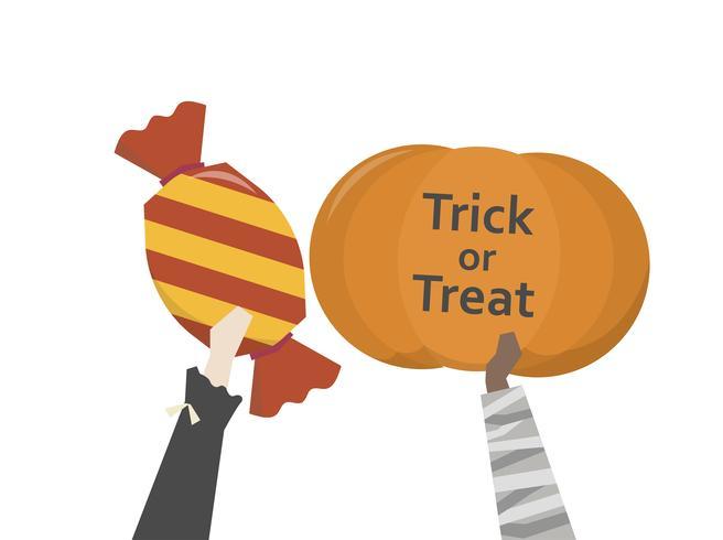 Illustration d'un tour ou d'une gâterie d'Halloween