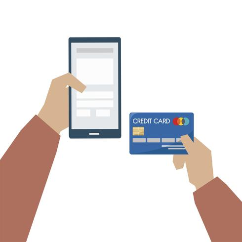 Ilustração de pagamento on-line com cartão de crédito