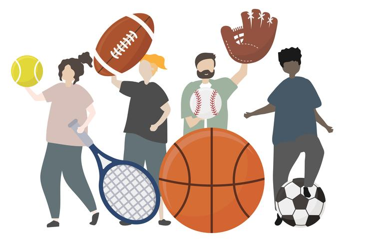 Persone con illustrazione di concetto di sport