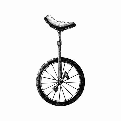 Hand drawn monobike isolated on white background