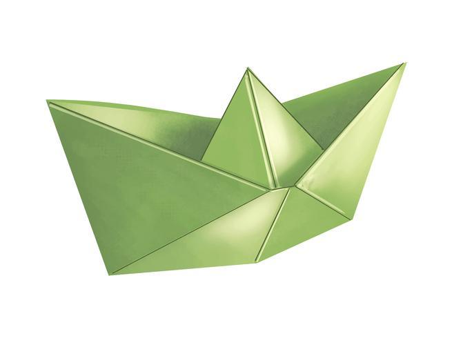 Ilustración de barco de origami verde 3D