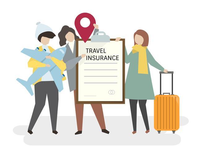 Illustrazione delle persone con assicurazione di viaggio