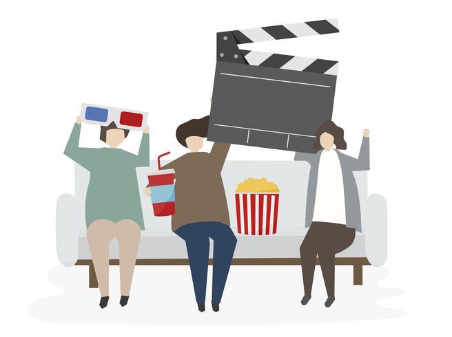 Amigos ilustrados assistindo a um filme