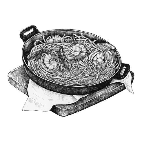 Marinière de spaghetti dessinés à la main