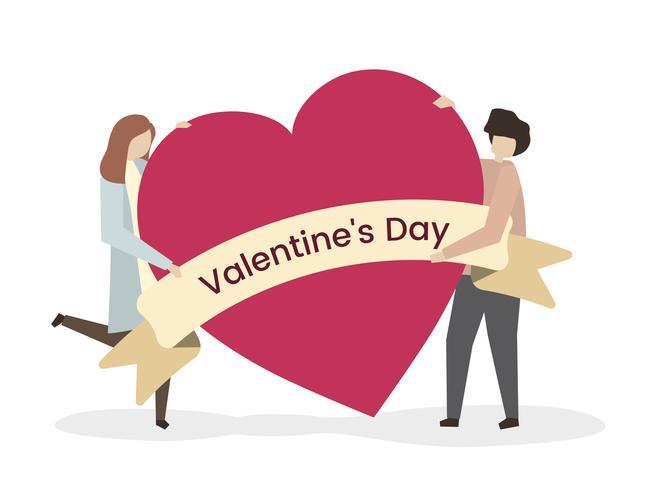 Illustrazione di una coppia sul San Valentino