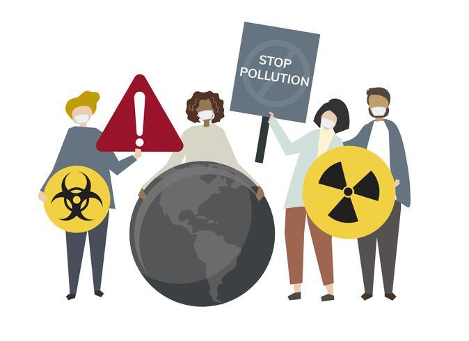 Pessoas protestando contra a ilustração do conceito de contaminação radioativa