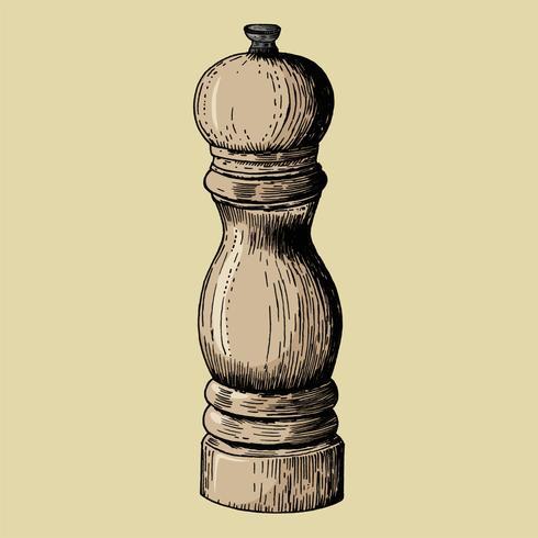 Moulin à poivre dessiné à la main