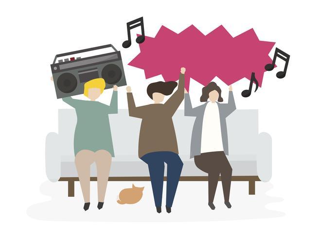 Gruppo di amici illustrati che ascoltano la musica