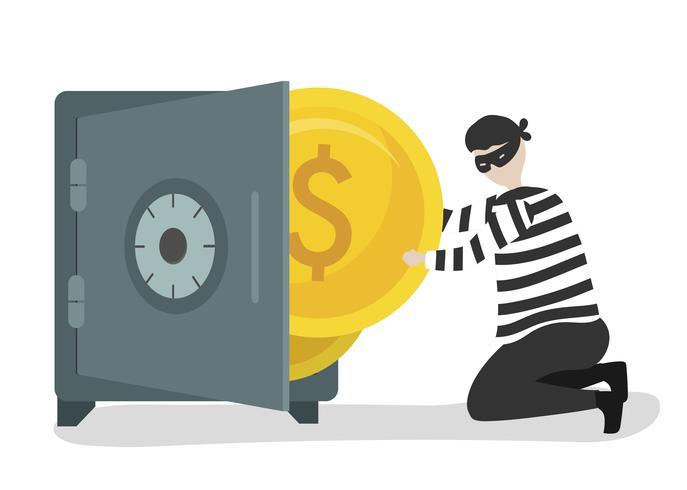 Abbildung eines Zeichens, das Geld stiehlt