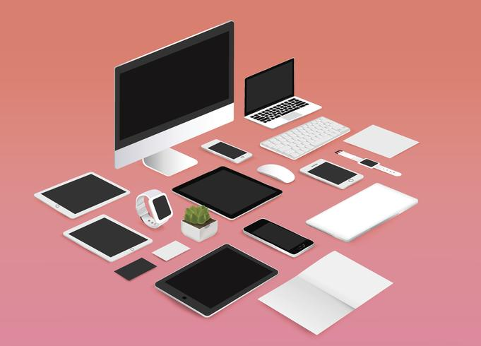 Office mockup uppsättning vektor illustration på röd bakgrund