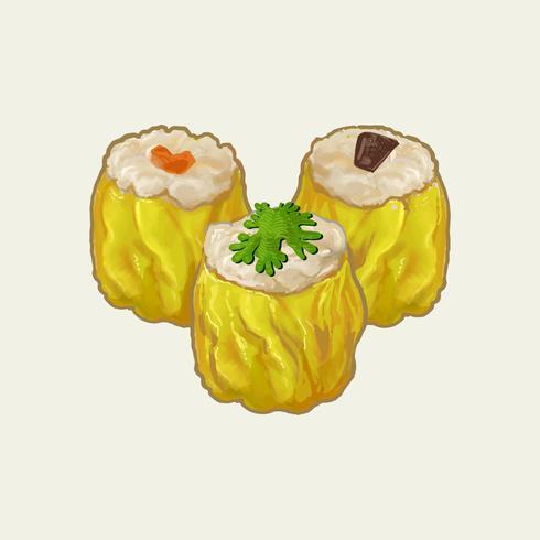 Illustration de trois boulettes chinois cuites à la vapeur