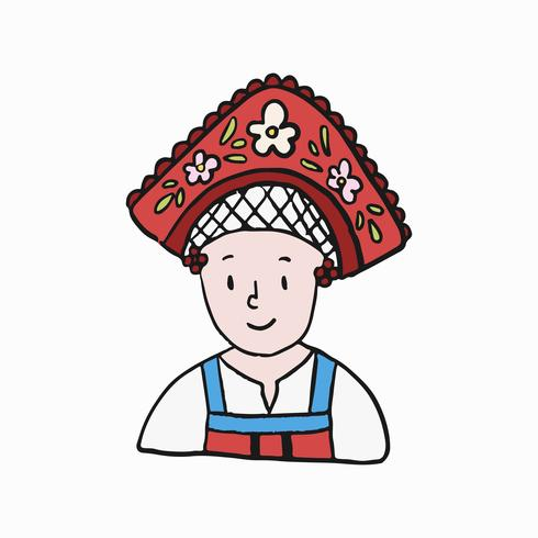 Donna russa nell'illustrazione tradizionale del vestito