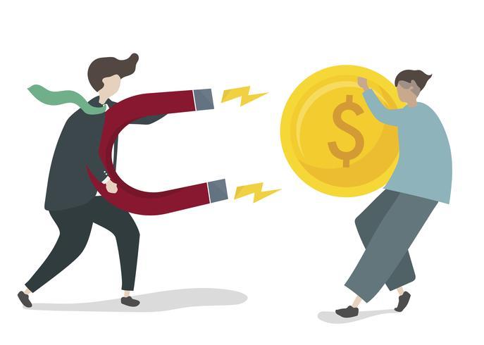 Ilustración de personaje con concepto de inversión empresarial