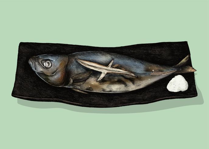 Ilustração de prato de peixe japonês