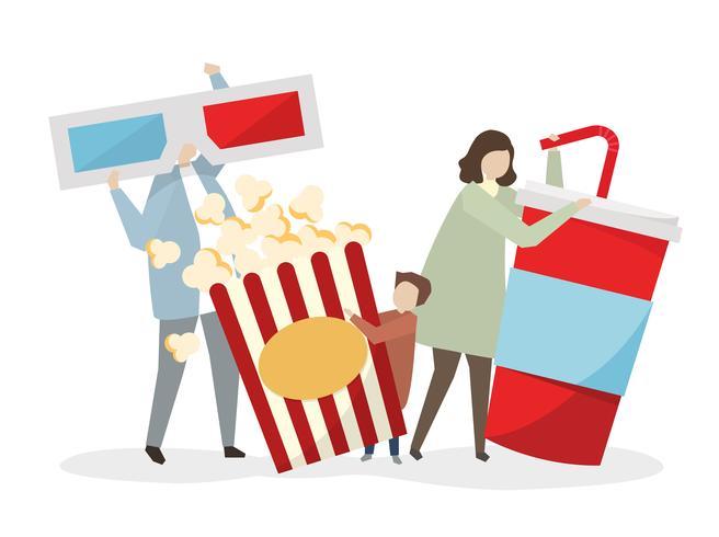 Famiglia pronta per andare a vedere un film