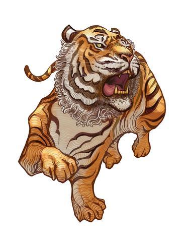 Illustration dessiné à la main de tigre japonais rugissant