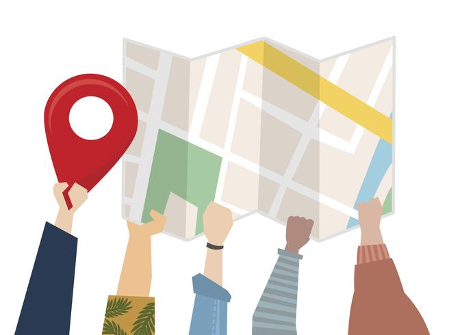 Illustration of people using a map for direction