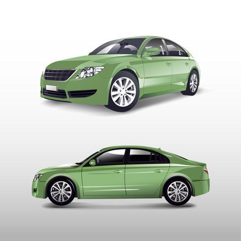 Groene die sedanauto op witte vector wordt geïsoleerd